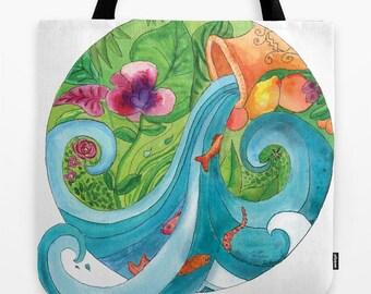 Aquarius Tote Bag, zodiac, star signs, astrology, blue water flowing, vessel,  book bag, beach bag, pool tote, gift for her