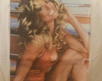 For Him. Vintage, Classic, Iconic Tee Shirt of the Beautiful  Farrah Fawcett, famous bathing suit pic,size Small, Mens, slim fit
