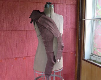 "SALE Vintage 1920s 1930s Burson NOS brown stockings hosiery hose ribbed Flapper original label unused 27 1/2"" long (4717)"