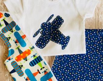Baby Boy Airplane Bodysuit, Airplane Bib and Polka Dot Burp Cloth Set = Airplane Bodysuit