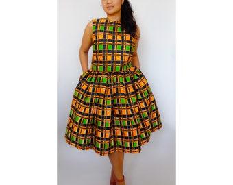 African Print Skirt, Billy Gathered Skirt