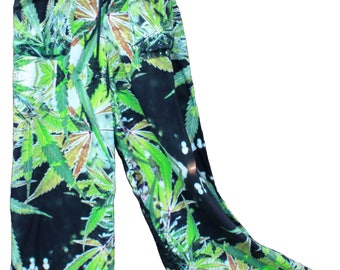 Unisex Pants:Cannabis Pants,Blueberry Marijuana Print,Yoga Pants,Festival Pants,Wide Leg Pants,Boho Chic Pants,Palazzo Pants, Harem Pants