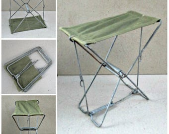 Vintage folding seat . Folding fishing chair.  folding camping  stool,collapsible Picnic chair. Soviet Russia 1970s .