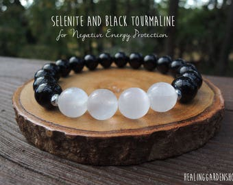 Selenite and Black Tourmaline Bracelet //  Negative Energy Protection // Positive Energy // Reiki Jewelry // Healing Garden Shop