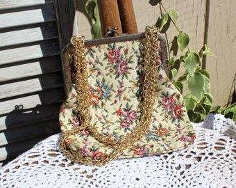 Vintage. Tapestry/floral/off white/pink/gold chain strap/clutch/handbag/purse. Made in Japan. Too CUTE!