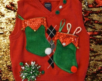 Size 7 kids, Ugly Christmas Sweater vest, kids, boy, elf stocking, for a 7 year old, one of a kind