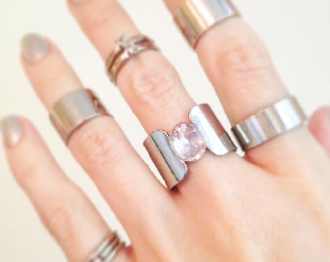 Amethyst Silver Cuff Ring, Silver Amethyst Ring, size 6.5 Ring