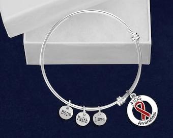 12 AIDS Awareness Round Retractable Charm Bracelets (12 Bracelets) (BR-P35-6AI)