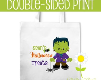 Frankenstein Monster Personalized Halloween Trick or Treat Bag - Frankenstein Tote Bag with Name - Custom Boy's Halloween Candy Bag