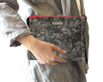 Gray Leather Clutch, Grey Leather Mini Crossbody, Clutch Wristlet, Evening Bag, Phone Pouch, 50 Shades of Grey Leather Clutch