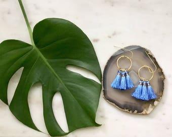 Brass Hoop Earrings with Silk Tassels