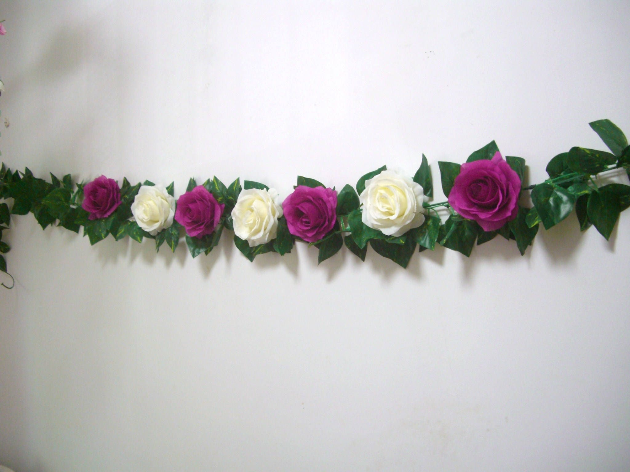 Silk Flower Garland,Fuchsia,Rose Garland,Wedding Arch Garland,Swag ...