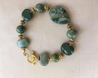 Green Kazuri beads bracelet