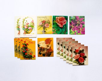 Set of 22 birthday greeting mini cards 80's, Soviet era USSR, mini floral collectibles postcards