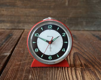 RESERVED BLESSING alarm clock West Germany 1970s,red alarm clock,German Antique alarrm clock ,working