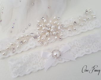 Beaded Lace Wedding Garter Pearl Bridal Set Keepsake