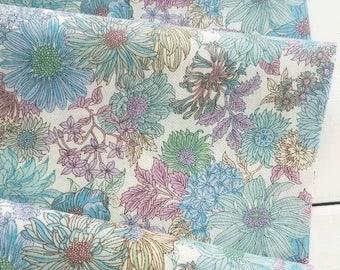 Memoire a Paris Cotton Lawn 2017 - Large Floral(Blue/White Background) - Lecien - Japan, Inc