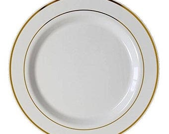 Set of Premium Elegant Heavy Duty Round Plastic Plates with Gold or Silver Trim for Weddings, Parties, and Special Events