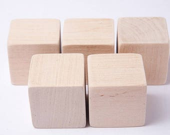 40 pcs 1 3/4 inch (4,5 cm) Unfinished Wood Blocks for wood crafts, wooden cubes, wood blocks, Great for Baby Showers