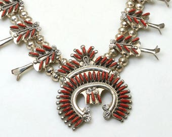 Vintage Zuni Signed Sterling Silver & Coral Squash Blossom Necklace Southwestern
