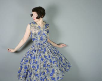50s sheer light SILK dress in SUMMERY grey, blue and yellow FLORAL print - light and airy Mid Century dress - xs