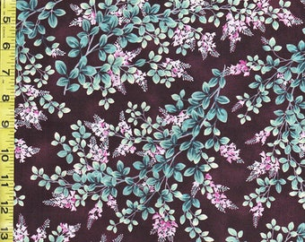 Asian, Japanese Quilting Sewing Fabric - Moon Over Waterfall - Small Floral Leafy Branches - Dark Plum