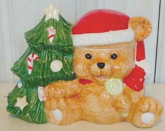 Christmas Cookie Jar, Teddy Bear & Christmas Tree, Ceramic, Glazed Pottery, 1980s Vintage, Retro, Kitchen Decor, lindafrenchgallery
