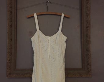 white eyelet hook front mini dress