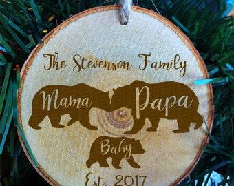 Bear Family Christmas Wood Slice Ornament . Mama Bear . Papa Bear . Baby Bear . Family Name with established Year . Christmas Gift