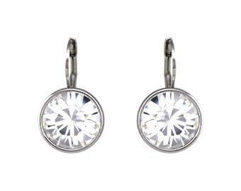 Regular Round Bella Rhodium-Plated Crystal Earrings made with Genuine SWAROVSKI Crystals