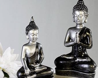 Buddha statue, antique silver color, decoration. Height 11.4 inches