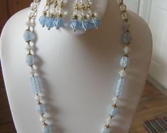 Blue glass vintage necklace set, blue glass, painted white design, drop dangle clip on earrings