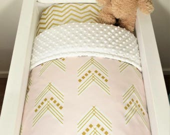 Blush and gold arrow bassinet quilt or set