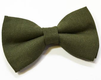 Dark Olive Green Linen bow tie, Olive Green bow tie, baby bow tie, boys bow tie ,adult bow tie, men's bow tie, Green bow tie, Linen