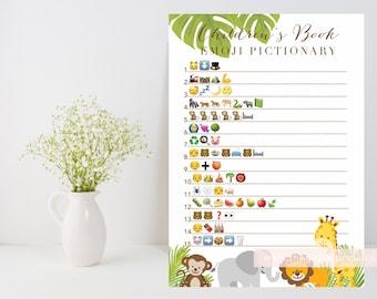 Children's Book Emoji Pictionary printable, safari animals baby shower game, palm leaves, kids book emoji game, INSTANT DOWNLOAD, 009