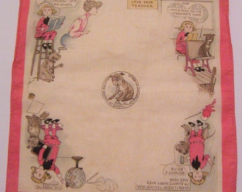 Antique Buster Brown At School Handkerchief