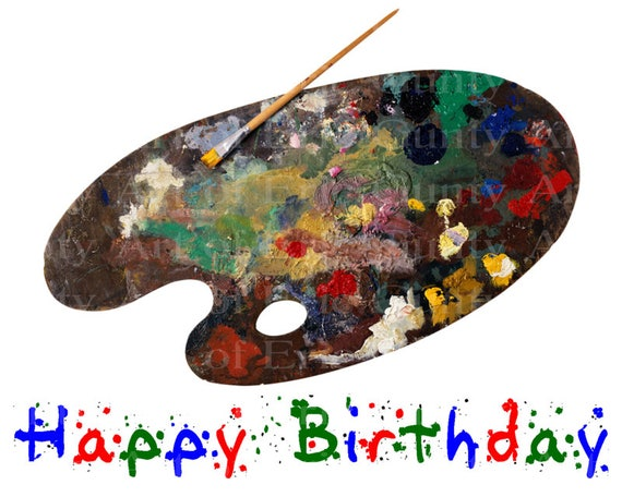 Artist Pallet Happy Birthday - Edible Cake and Cupcake Topper For Birthday's and Parties! - D22831