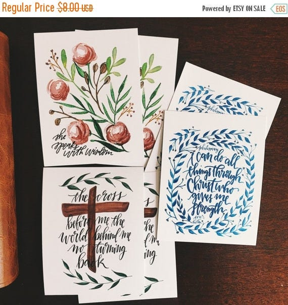 ON SALE Set of scripture cards, bible verse postcards, proverbs 31, I can do all things through Christ, Christian hymn art, bible journaling