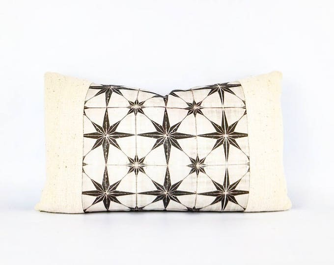 Authentic African Mudcloth Textile And Cotton Canvas Moroccan Tile Print Lumbar Pillow Cover 12x20