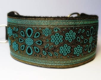 Comfortable, soft&cosy, elegant whippet martingale collar. Width - 5.5cm/2,2''. Blue/gold.