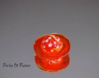 Glass cabochon/bead * dot * orange/yellow tones - creating jewelry - Lampwork Glass