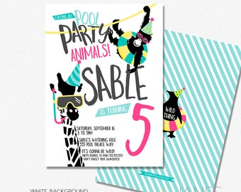 "Pool Party Animal Birthday Invitation | Zoo Pool Birthday Invitation | Pool Party Animal Digital Printable - 5X7 with *bonus reverse side"""
