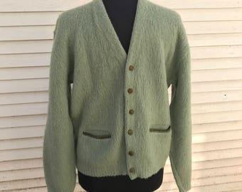 Vintage Grandpa Wool Cardigan Sweater/Fuzzy Mohair Alpaca/1950s 60s/Suede Buttons & Trim/Midcentury/McBriar/Medium Large/Madmen