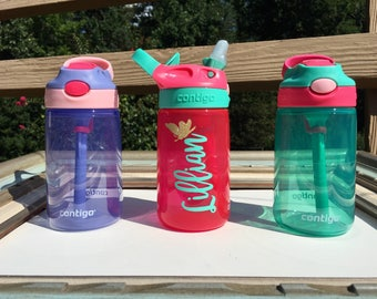 Kids Personalized Water Bottle | Contigo Sports Name Bottle | No spill PBA Free Kids Sports Birthday Gifts Girl Boy Preschool Lunch Drink