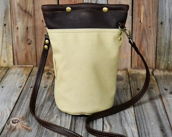 Leather/ Canvas Cross Body Beer Growler Tube BT-102