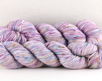 "Hand dyed yarn,  80 / 10 / 10%  Super wash Merino / Cashmere / Nylon, sock yarn, 400 yards, ""Confetti (lilac)"""