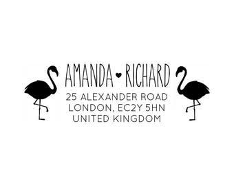 "Flamingo Address Stamp, personalised address stamp, rsvp stamp, tags stamp, wedding stamp, envelope stamp, custom stamp, 3""x1"" (cas107)"