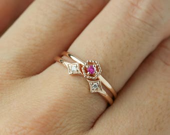Set ring, Hexagon ruby ring and double diamond star ring. 14k rose gold, 14k yellow gold, 14k white gold -Set of 2