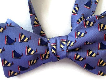 Silk Bow Tie for Men - Regatta - One-of-a-Kind, Handcrafted - Self-tie - Free Shipping