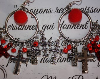 Five different style Cross Red earrings